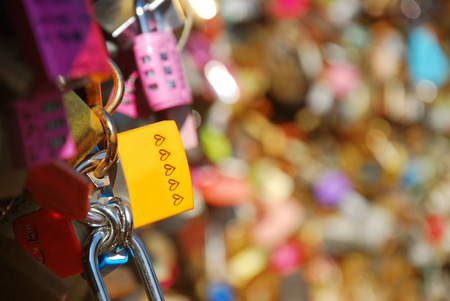 Lots of master key lock by couple on the top of Seoul tower, Namsan tower in Seoul, south Korea Stock fotó