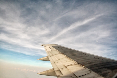 view from Aeroplane, Aero view, bird eye view, sky view with wing plane Stock fotó