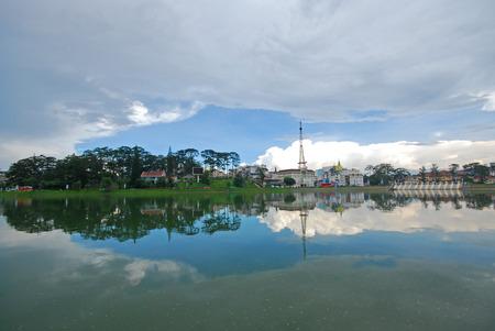 beautiful city near the lake in vietnam