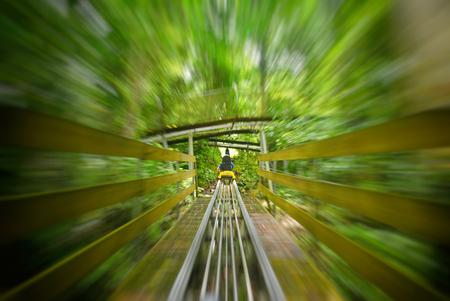 Playing Roller coaster at Datanla Waterfall in Dalat, Vietnam