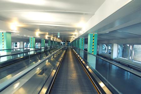 travelator walkway in the airport