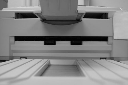 Front of printer in black and white
