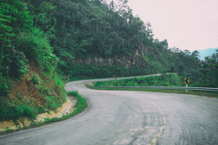 Street road on to ride up on the mountain with zigzag shape of road