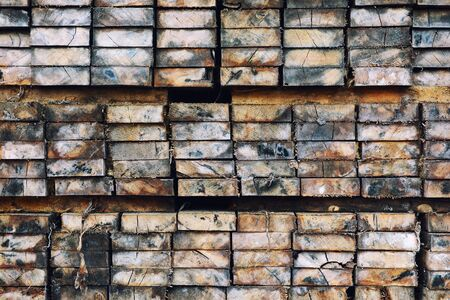 Lumber on the shelf,Wood Orderly arrangement texture background