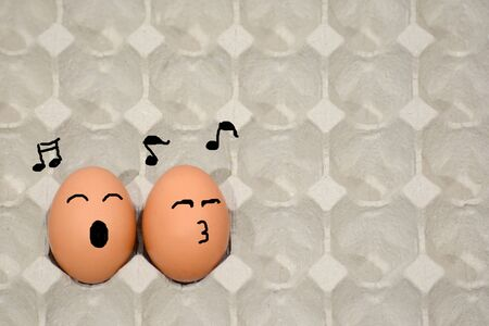 sing a song happily, fresh eggs in paper panel