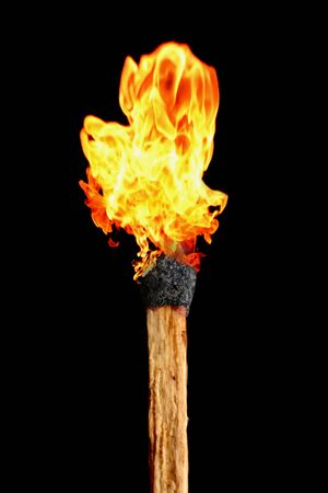 Light up fire on Match stick, fire is born Archivio Fotografico