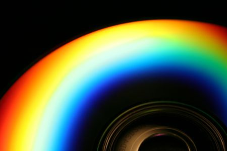 an image of a rainbo on a compact disk Stock Photo
