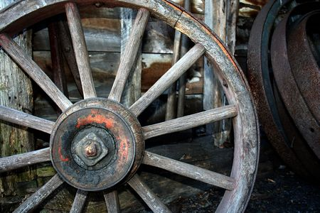 an image of a Old Wooden carriage wheel Stock Photo - 888246