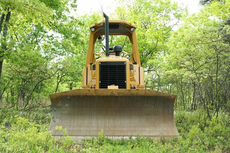 an image of a Yellow bulldozer in the woods. Stock Photo - 948021