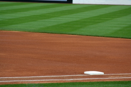 an image of first base on a baseball field Stock Photo