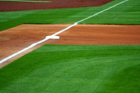An image of third base on a baseball field Stock Photo - 980209