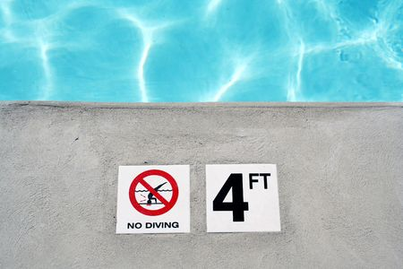 an image of a Swimming pool depth marker Stock Photo