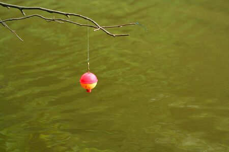 Hanging Fishing Bobber with dragonfly Stock Photo - 1280300