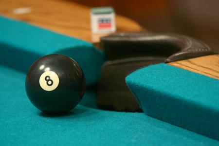 near side: 8 ball near side pocket with chalk