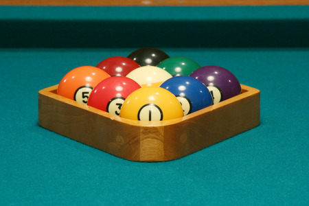 9 ball: Racked balls set for a game of 9 ball