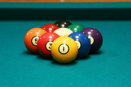 Deep depth of field Nine ball rack Stock Photo