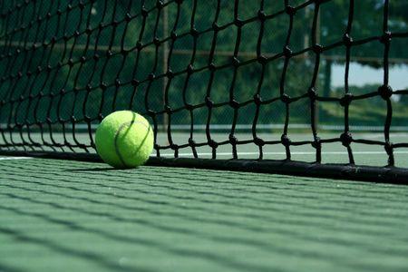A Tennis ball near net with showdows Stock Photo - 1787630