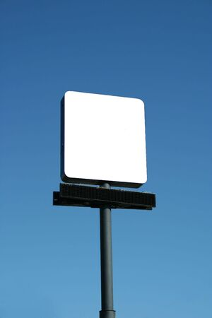 Blank Sign against blue sky Stock Photo