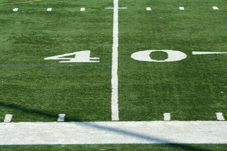 yardline: A white Football fourty yard marker