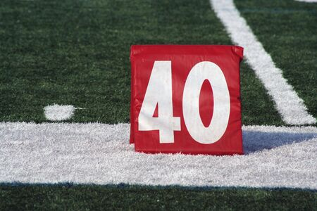 yardline: A red Football forty yard marker