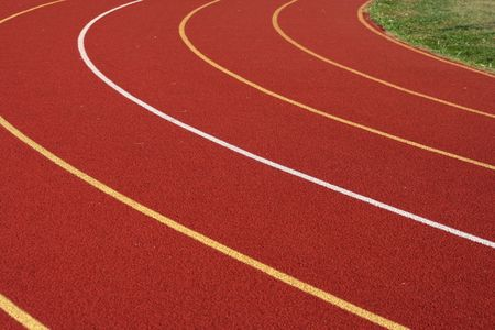 running track: Some red Lanes from a Running track Stock Photo