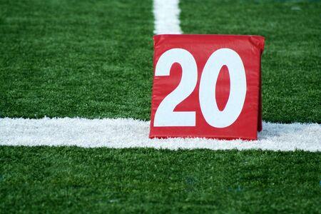yardline: A Red Football twenty yard marker  Stock Photo