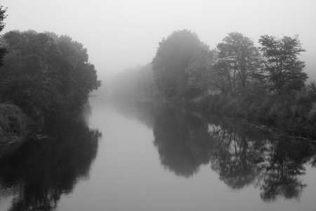 A Foggy River Scene with trees  photo