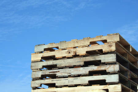 Stacked Pallets against a blue sky Stock Photo - 1944431