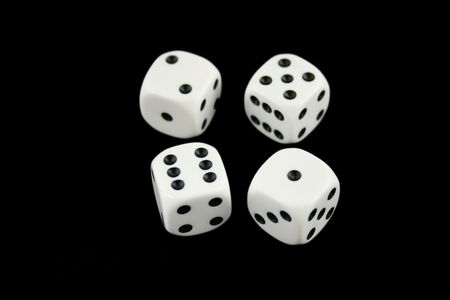 All Sevens dice isolated on black background