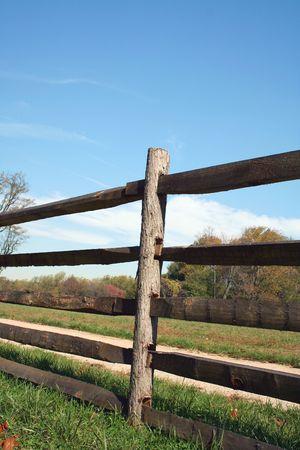 A Split Rail Fence against blue sky Stock Photo - 2026734