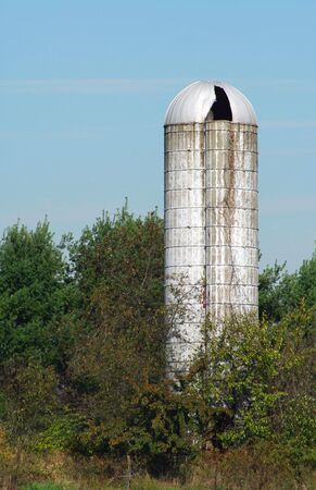 An old silo with trees against blue sky Imagens