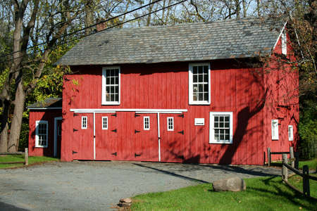 A red barn in the woods