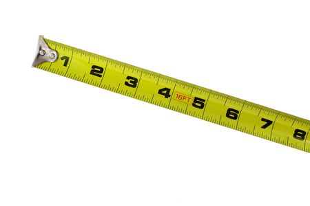 A Yellow tape measure on white background Imagens