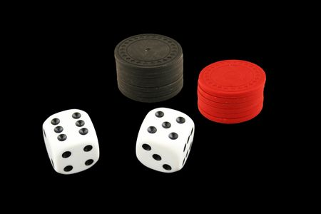 Seven Eleven dice isolated on black background