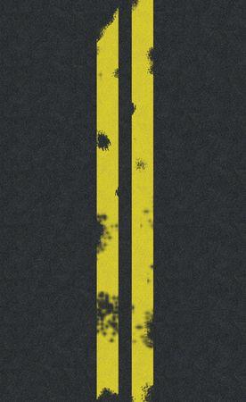 二重黄色線道路の背景