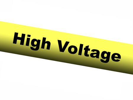 barrier: High Voltage Yellow Barrier Tape Stock Photo