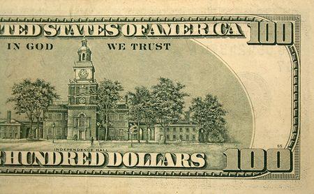 Back half of a one hundred dollar bill