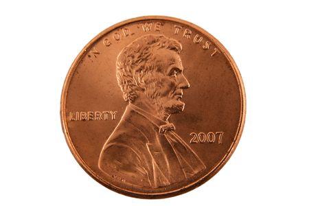 A Isolated US penny Stockfoto