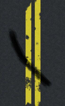 スキッド マークと二重黄色線道路の背景 写真素材