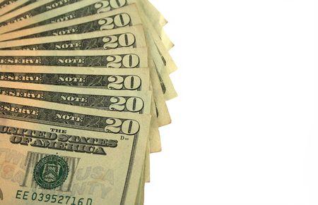 Twenty Dollar bills fanned out Stock Photo - 2215817