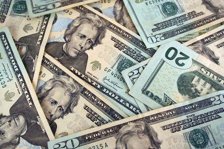 Twenty Dollar bills background texture Stock Photo - 2215810