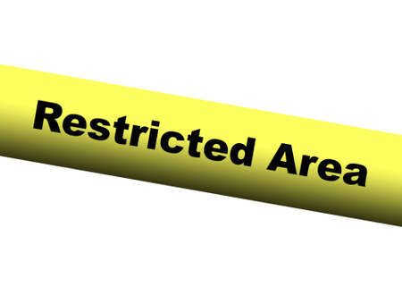 barrier: Restricted area Yellow Barrier Tape Stock Photo