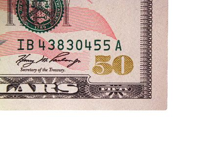 fifty dollar bill: The Corner of a US fifty dollar bill