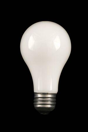 A White Lightbulb on a black background Banco de Imagens