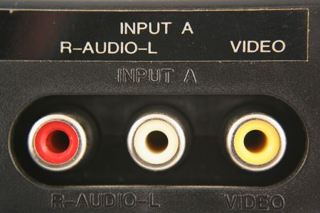 jacks: Audio video input jacks macro Stock Photo
