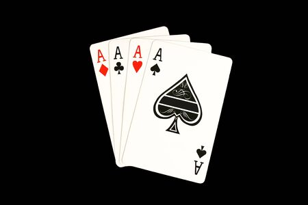 Isolated Four aces poker hand
