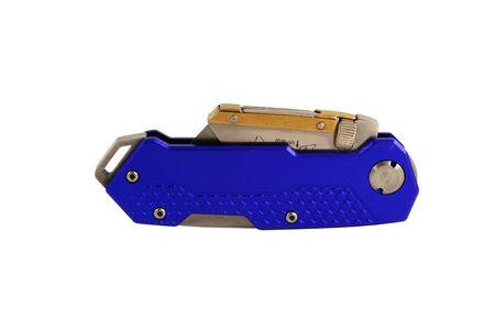 anodized: Una Cerrado Azul anodizado contratistas navaja cuchillo  Foto de archivo