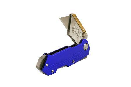 anodized: Un Abierto Azul anodizado contratistas navaja cuchillo Foto de archivo