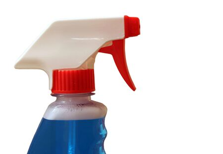 spr�hflasche: Eine Spr�hflasche auf beige Hintergrund Lizenzfreie Bilder