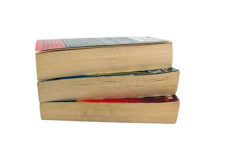 Tres libros de bolsillo apilados en blanco  Foto de archivo - 2637618